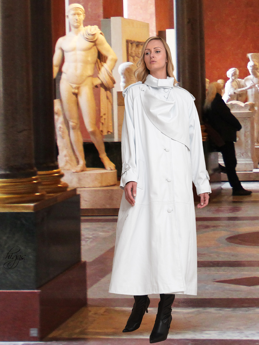 Higgs Leathers {36' to 50' bust}  Charlotte (Designer style White Leather Trench coat) STUNNING DESIGNER STYLE WHITE LEATHER TRENCH COAT!